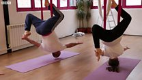 Doing yoga in the air... with your dad