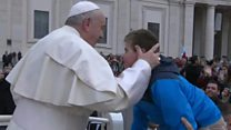 Boy gets wish with popemobile ride