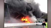 Bus fire at Stansted Airport