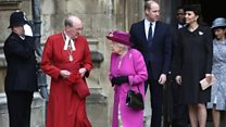 Royal Family greets Queen at Easter service
