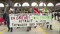 Strikers protest at station in Paris