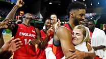 Moment England basketballers get engaged