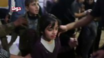 Syria children treated after chemical attack