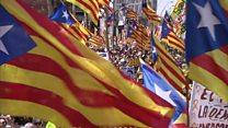 Catalans protest en masse in Barcelona