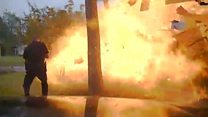 Moment a house explodes in Texas