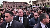 Armenian president approaches protesters