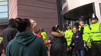 Protestors try to storm Alder Hey