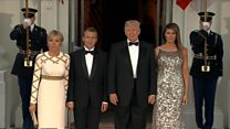 Trump greets Macron for state dinner