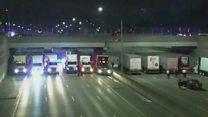 Caminhões formam barreira sob ponte nos EUA e põem fim a tentativa de suicídio