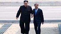Moment Kim Jong-un crossed Korean border