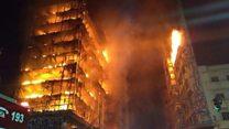 El devastador incendio que derrumbó un bloque de viviendas en Sao Paulo