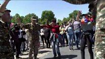 Armenia protesters dancing