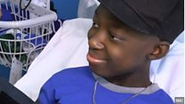 Bone marrow transplant patient boy goes home
