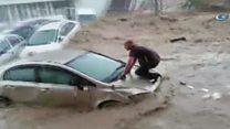 Cars swept away in Turkey floods