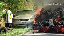 Lava swallows car in Hawaii
