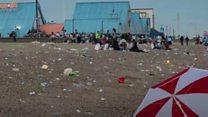 Beachgoers leave behind piles of rubbish