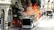 Bus catches fire in heart of Rome