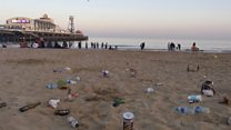 Sunseekers leave beach covered in litter