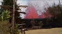 Volcano erupts at end of man's garden