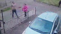 Man filmed waving machete around street