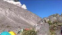Volcano erupts as campers cook breakfast