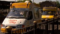 Cortege of ice cream vans before funeral