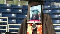 Robot stands in for student at graduation