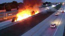 Truck bursts into flames on motorway