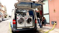 Laundry van cleans clothes for homeless