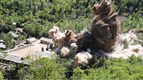 """لحظة """"تدمير"""" موقع التجارب النووية في كوريا الشمالية"""