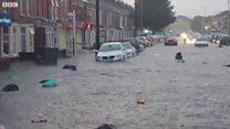 Heavy rain causes flash flooding in Northampton