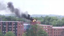 Building blaze captured on camera