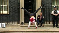 Gymnast backflips into 10 Downing Street