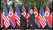 映像で見る 米朝首脳が初めて握手した瞬間