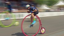 Smashing a cycling record... on a Penny Farthing