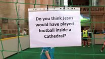 Football tournament held in cathedral