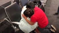 Mum and son migrants reunited in US