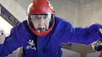 Woman, 102, tries indoor skydiving