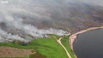 Drones capture extent of vast moors fire
