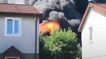 Smoke billows from plastics factory fire