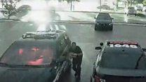 Police officer escapes lighting strike