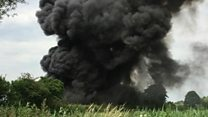Crews tackle fire at tyre factory