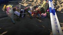 Tributes left for girl killed on beach