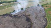 Moorland fire still smouldering