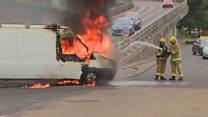 Van set alight during trouble in Derry
