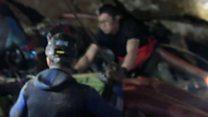 Thai boy on stretcher during rescue