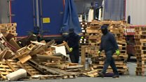 Contractors protected during bonfire removal in Belfast