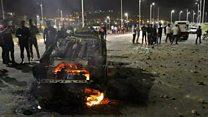 انفجار و آتش سوزی براثر تصادف اتوبوس و تانکر در سنندج
