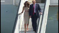 TT Trump và phu nhân đáp xuống London