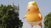 El bebé Trump hinchable y otras manifestaciones que recibieron al presidente de Estados Unidos en Reino Unido